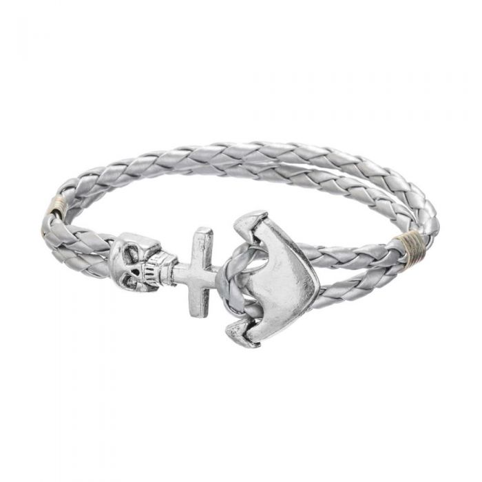 Image for Anchor and skull stainless steel and silver-tone braided leather bracelet