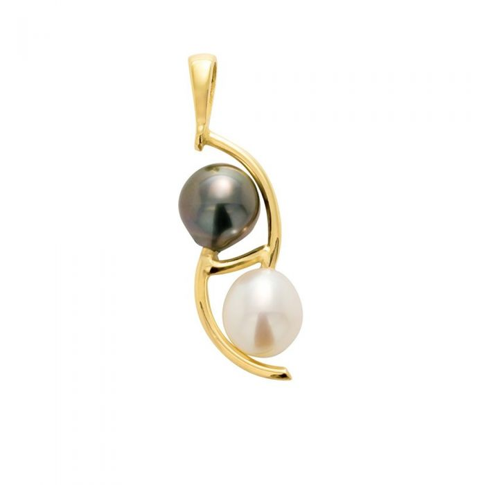 Image for Black Tahitian Pearl and White Freshwater Pearl Pendant and Yellow Gold 750/1000