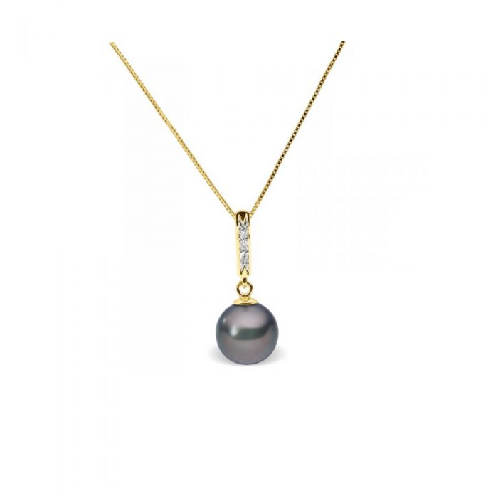 Image for Black freshwater pearl and diamond pendant