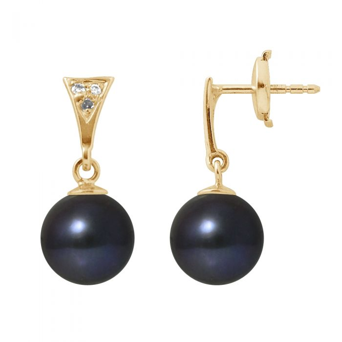 Image for Black freshwater pearl diamond earrings