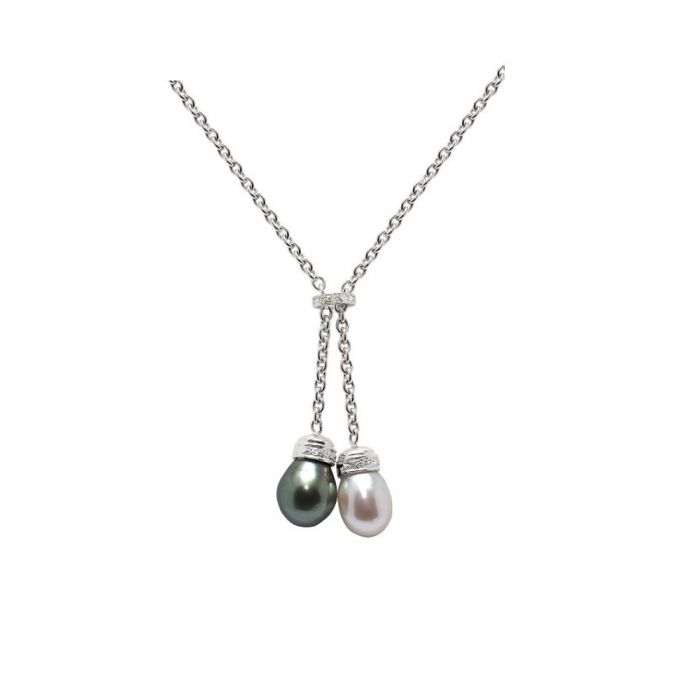 Image for White and Black Freshwater and Tahiti Pearls, Diamonds Necklace and White Gold 750/1000