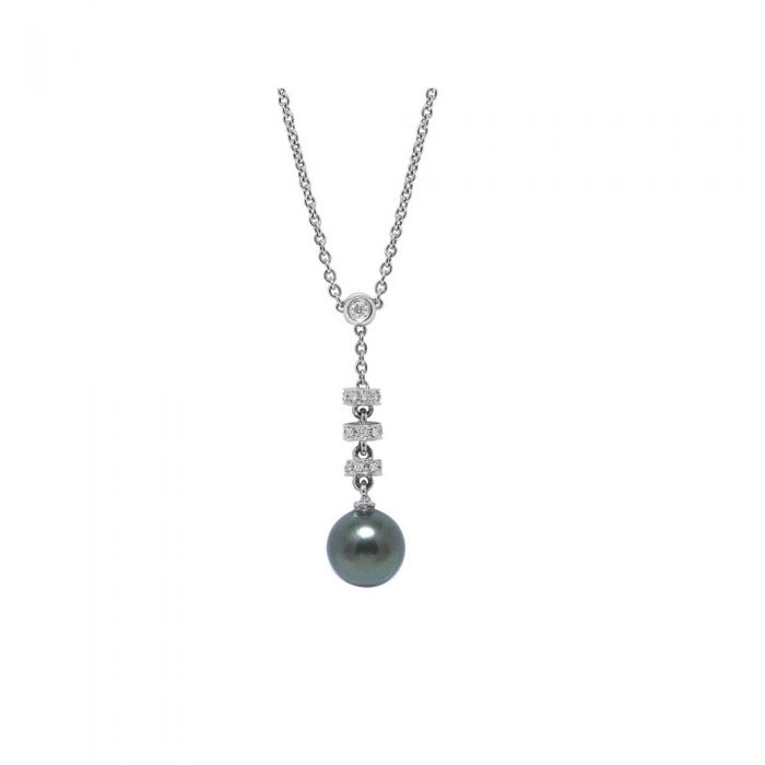 Image for Black Tahitian Pearl, Diamonds and White Gold 750/1000 Necklace