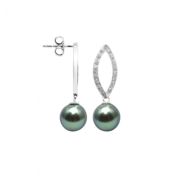 Image for White gold tahitian pearl diamond earrings