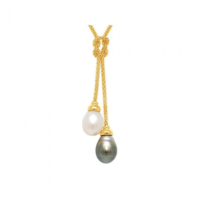 Image for White and Black Freshwater and Tahiti Pearls, Necklace and Yellow Gold 750/1000