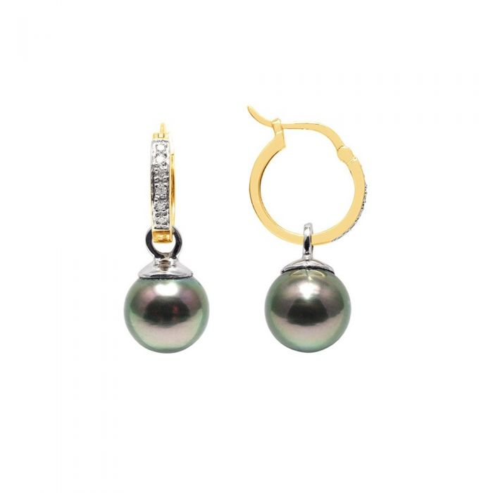Image for Yellow gold tahitian pearl and diamond earrings