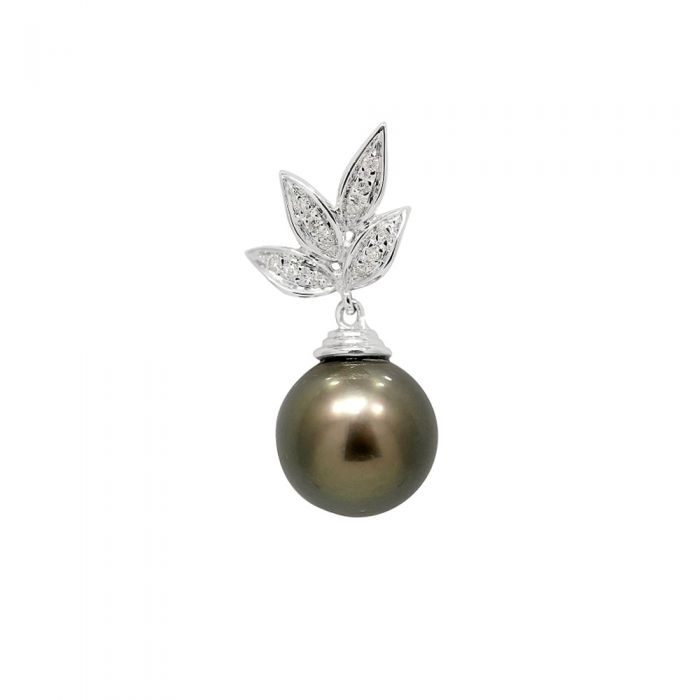 Image for White gold diamond and tahitian pearl pendant