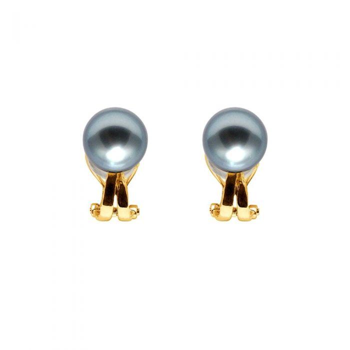 Image for Yellow gold black tahitian pearl earrings