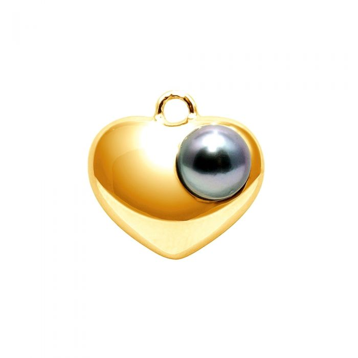 Image for Tahitian Pearl Heart Pendant and Yellow Gold 750/1000