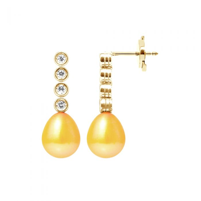 Image for Gold freshwater pearls and diamond earrings