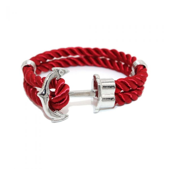 Image for Anchor stainless steel and red satin bracelet