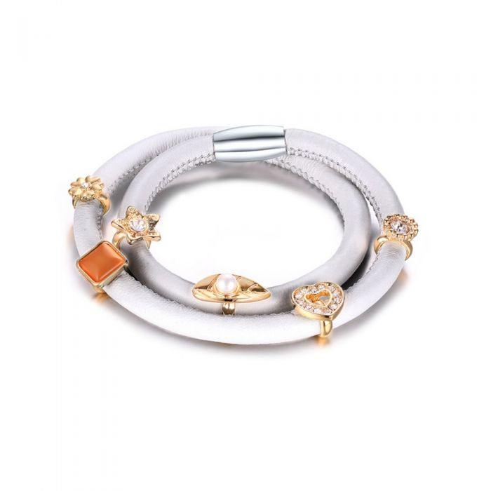 Image for White Leather Charm Double Row Bracelet and Beads