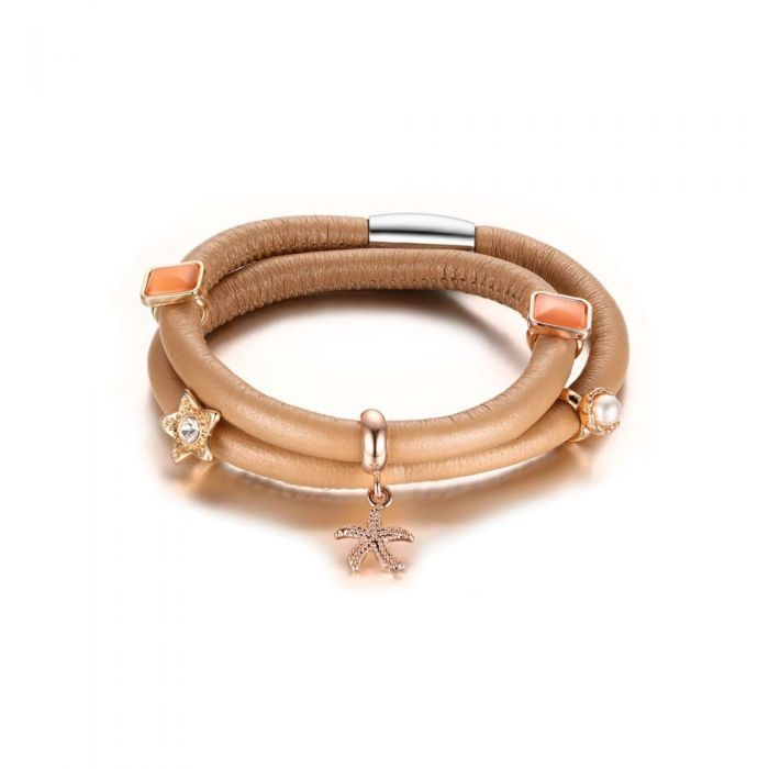 Image for Beige Leather Charm's Double Row Bracelet and Beads