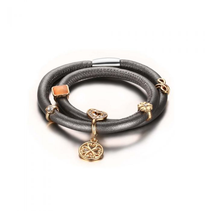 Image for Grey Leather Charm Double Row Bracelet and Beads