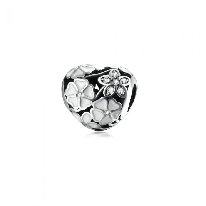 Image for White Enamel Flower and Heart Beads