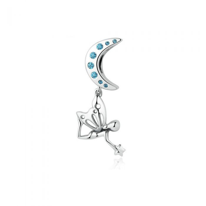 Image for 925 Silver Moon and Fairy Pendant Charms bead