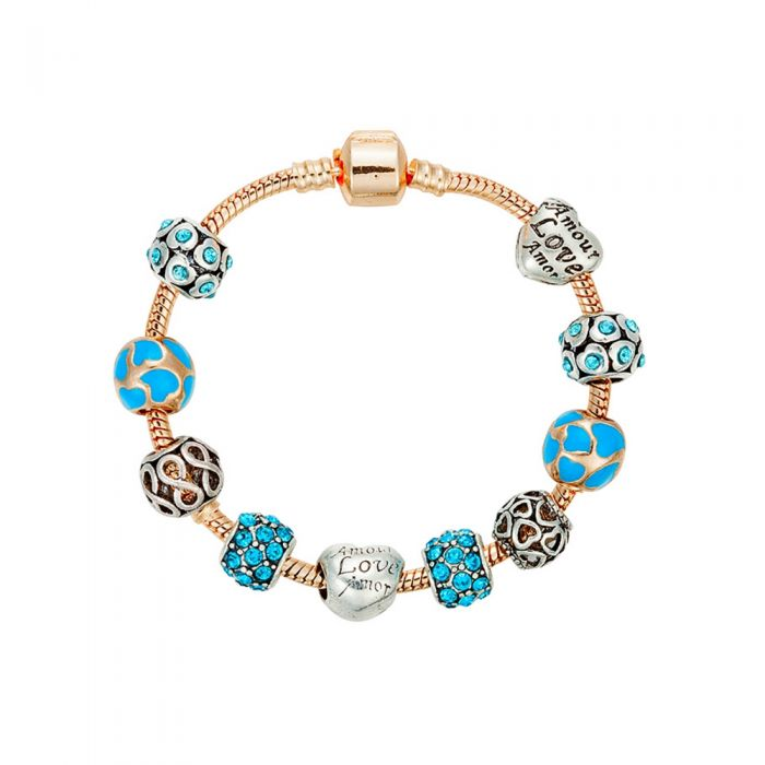Image for Yellow gold-plated hearts charm and beads bracelet