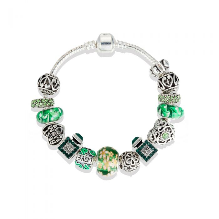 Image for Green heart charm and beads bracelet