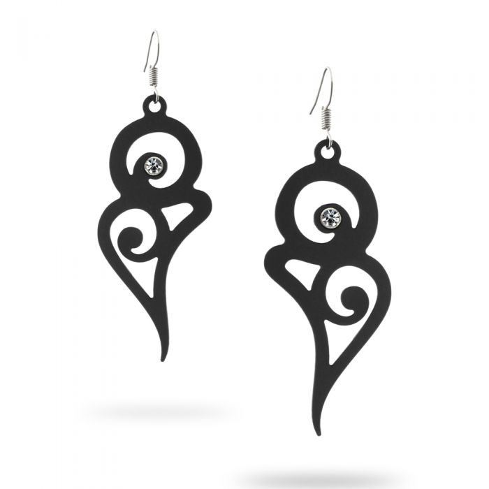 Image for Black Silicone Gum Long curves Dangling Earrings