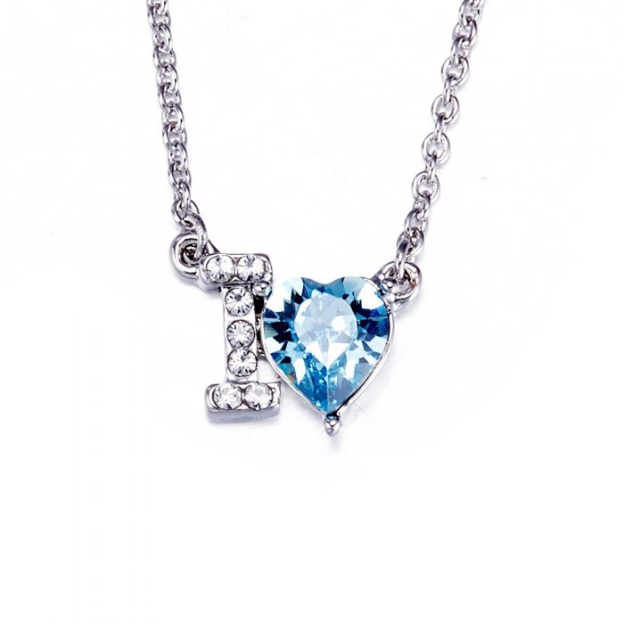 Image for Swarovski - Blue Swarovski Crystal Elements I Love You Necklace