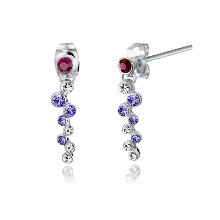 Image for Swarovski - Purple Swarovski Crystal Elements Dangling Earrings and Rhodium Plated