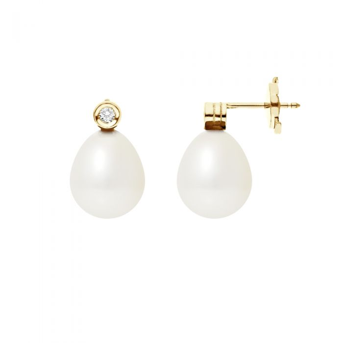 Image for Yellow gold and white freshwater pearl and diamond earrings
