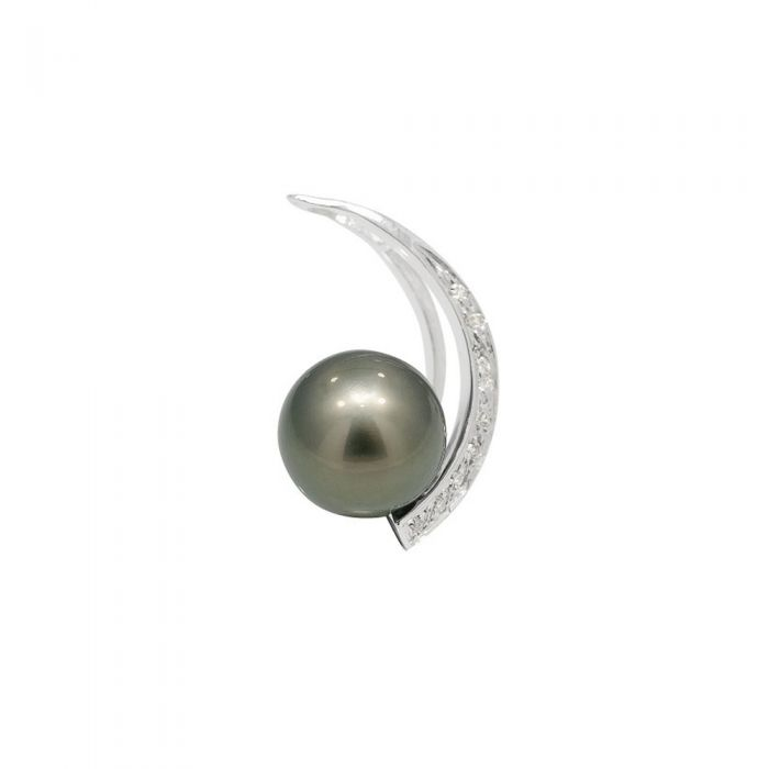 Image for Black tahitian pearl and diamond pendant