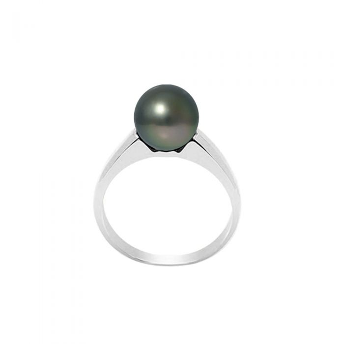 Image for Black Tahitian Pearl Ring 8-9 mm and Silver 925/1000