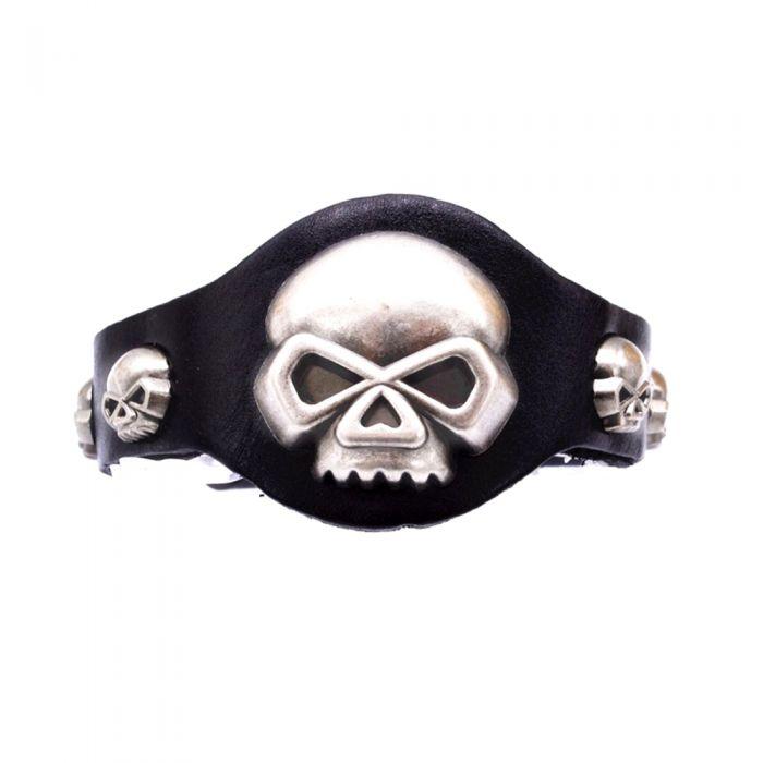 Image for Black Leather and Biker Skeleton Man Bracelet