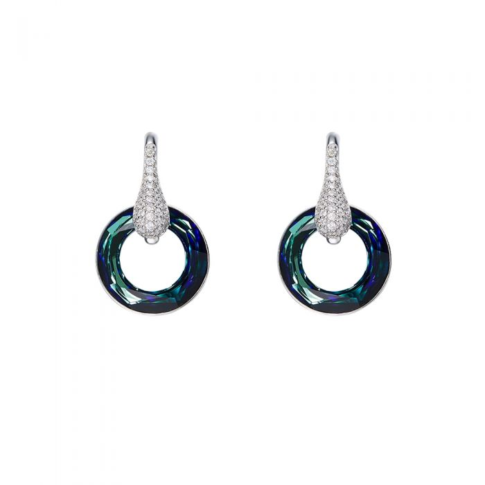 Image for Swarovski - Blue Swarovski Crystal Elements Circle Earrings