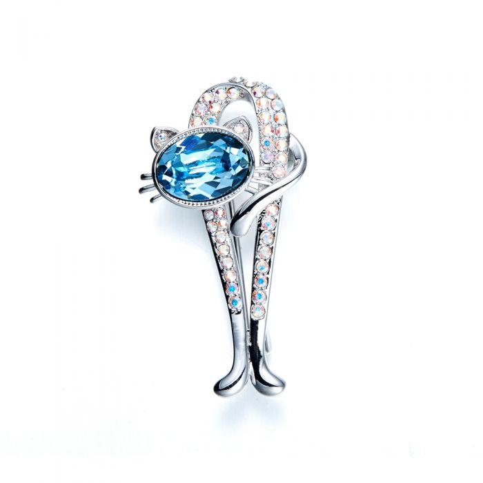 Image for Swarovski - Blue Swarovski Crystal Cat Brooch