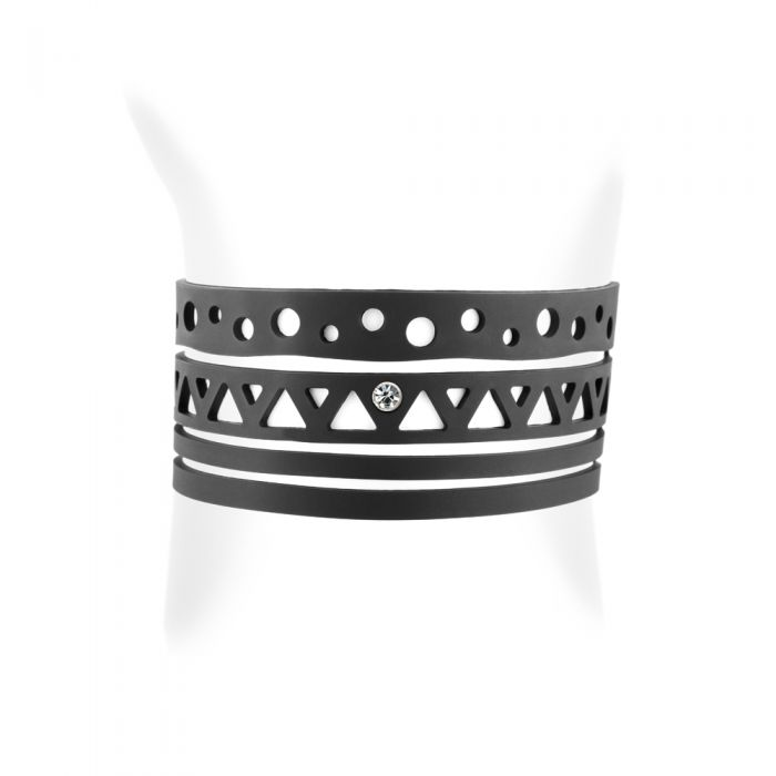 Image for Black Silicone Gum Ethnic Bracelet Effect Tatto