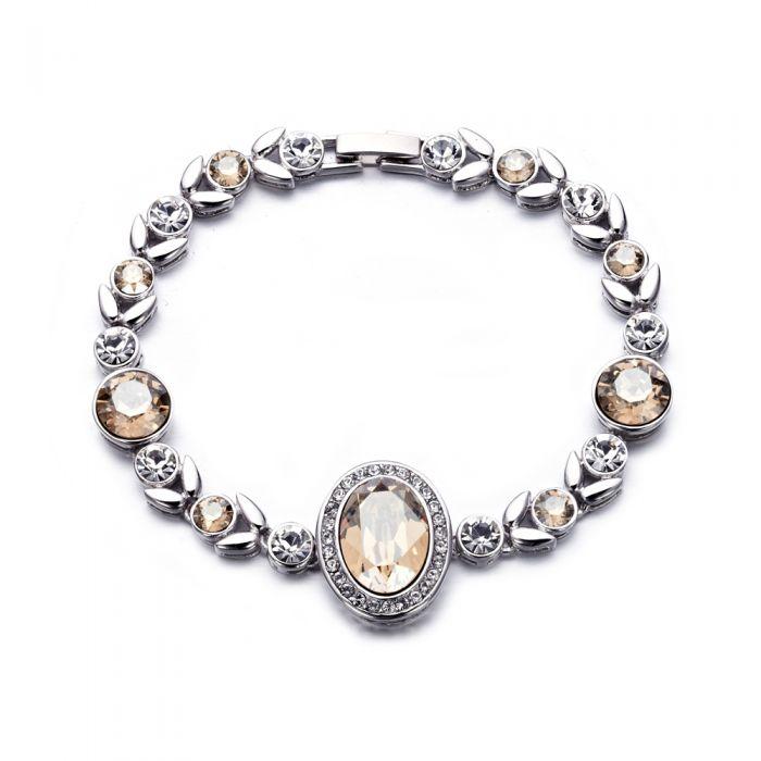 Image for White and champagne Swarovski crystals bracelet