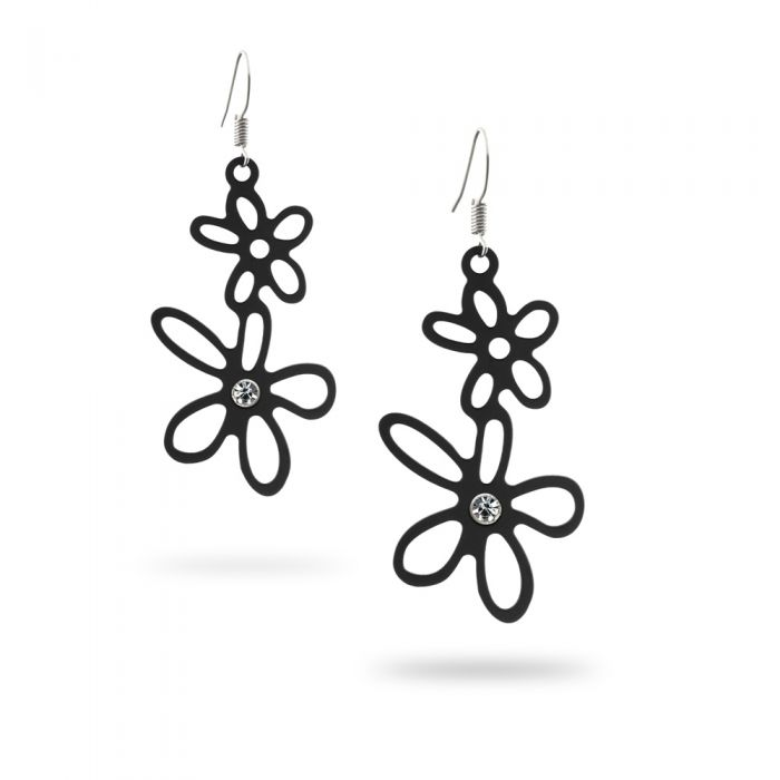 Image for Black Silicone Gum Flowers Dangling Earrings