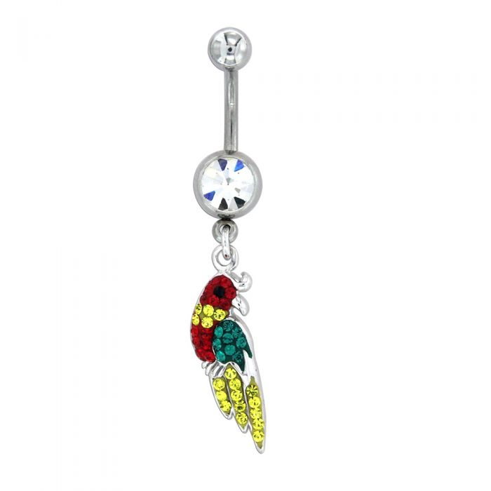 Image for Sterling silver and Swarovski crystals parrot piercing