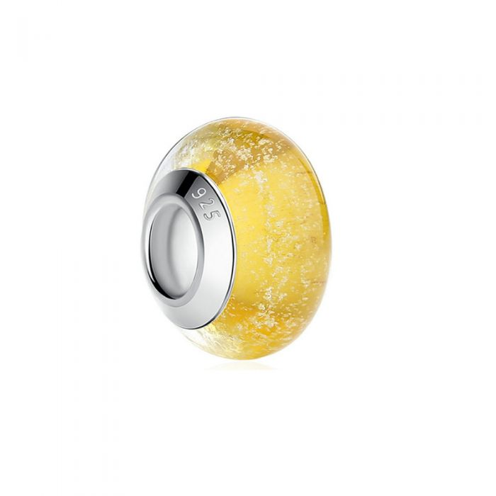 Image for Yellow Murano Glass Charms Bead and 925 Silver