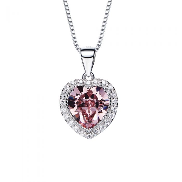 Image for Swarovski - Clear Pink and White Swarovski Crystal Elements Heart Pendant