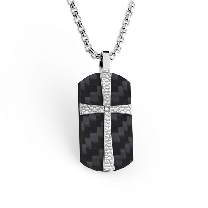 Image for Cross black carbon  stainless steel and cubic zirconia pendant