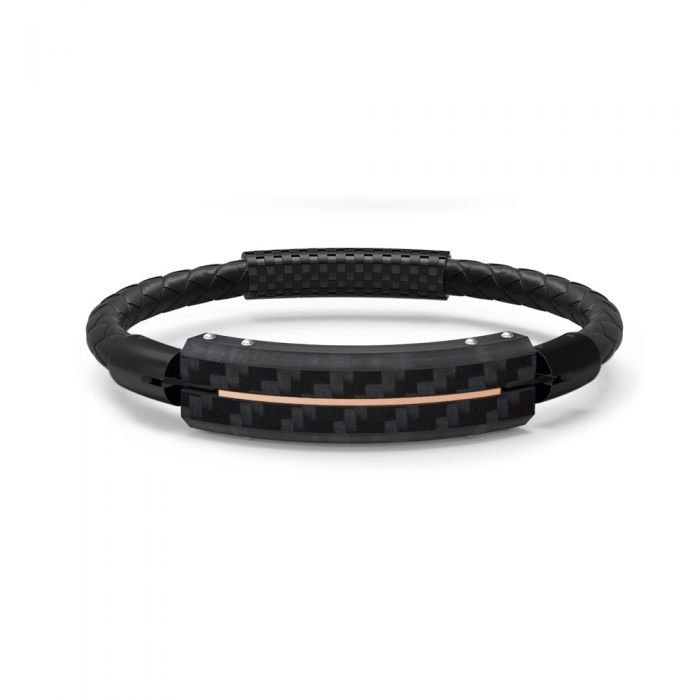 Image for Black leather and carbon plate bracelet
