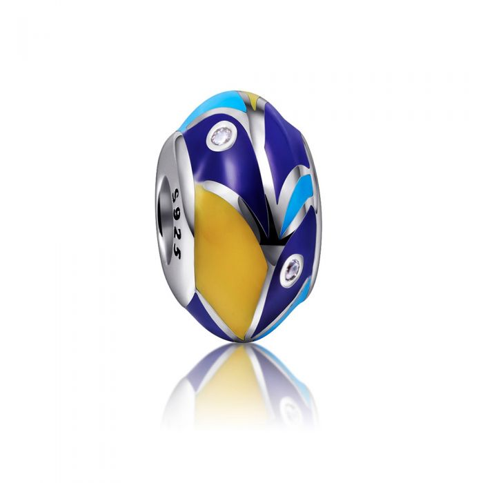 Image for 925 Silver and Blue and Yellow enamel Charms bead