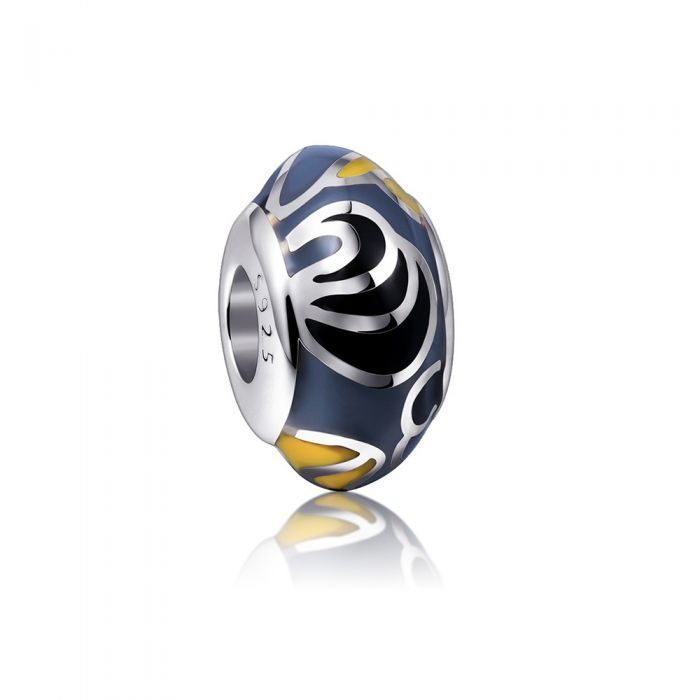 Image for 925 Silver and Grey and Yellow enamel Charms bead