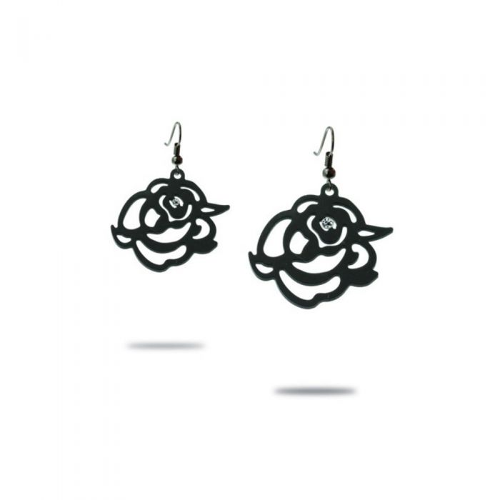 Image for Black Silicone Gum Roses Dangling Earrings