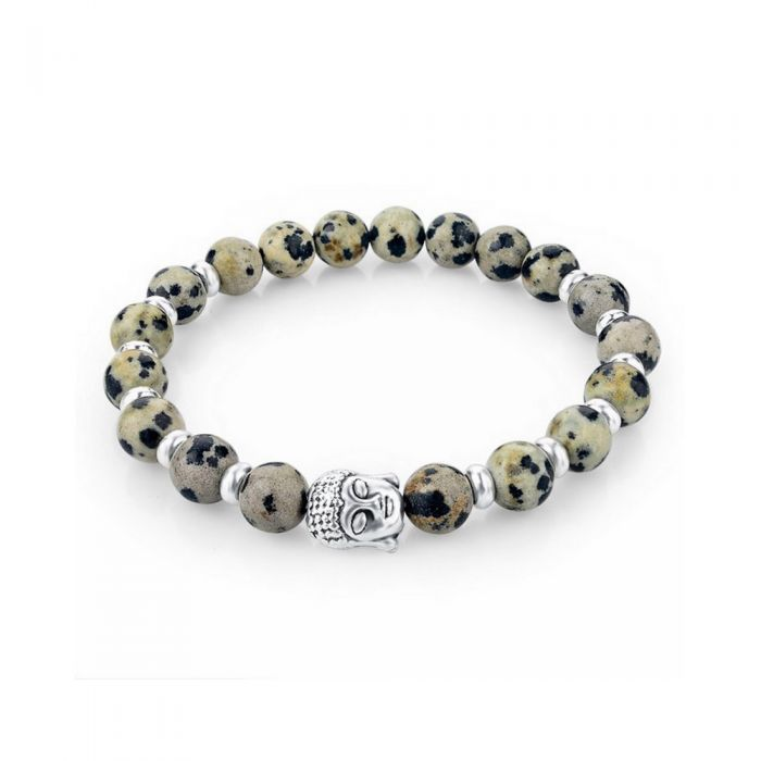 Image for Beige Natural Stones Stretch Bracelet and Silver Buddha Head