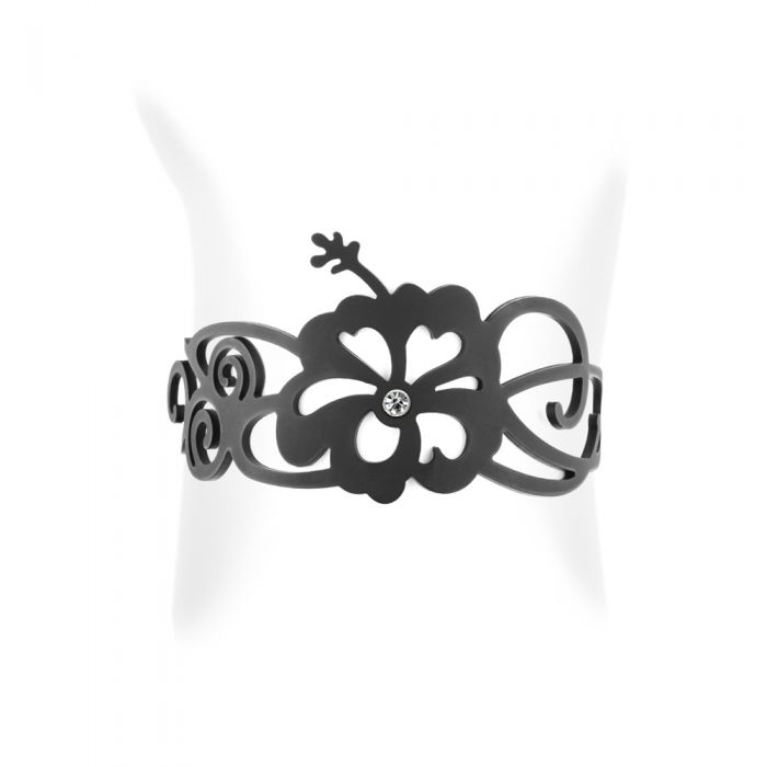 Image for Black Silicone Gum Floral Bracelet Effect Tatto