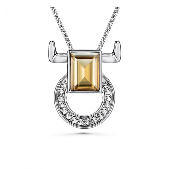 Image for White and champagne Swarovski crystals taurus pendant