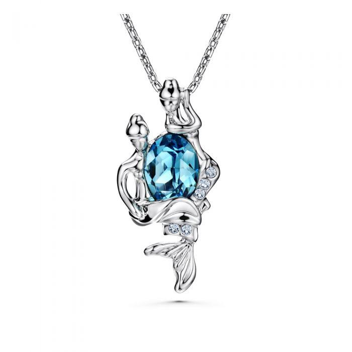 Image for Blue Swarovski crystals fish pendant