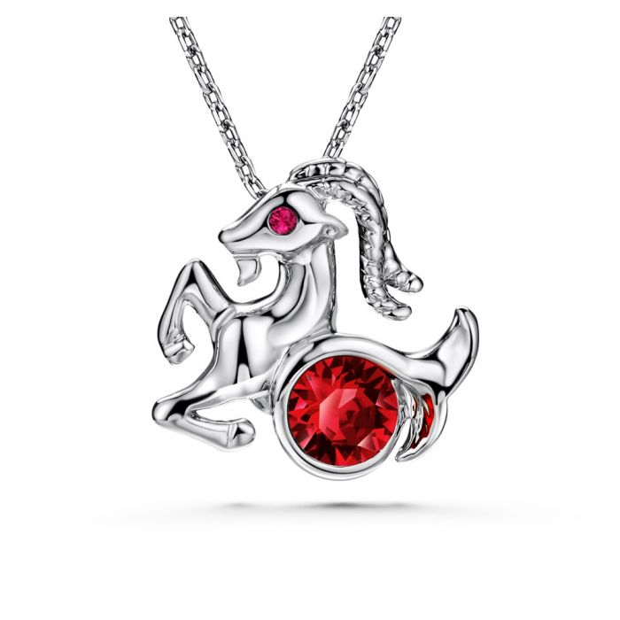 Image for Red Swarovski crystals capricorn pendant
