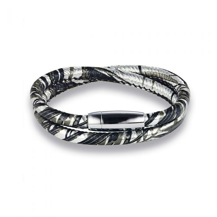 Image for Silver-tone leather bracelet