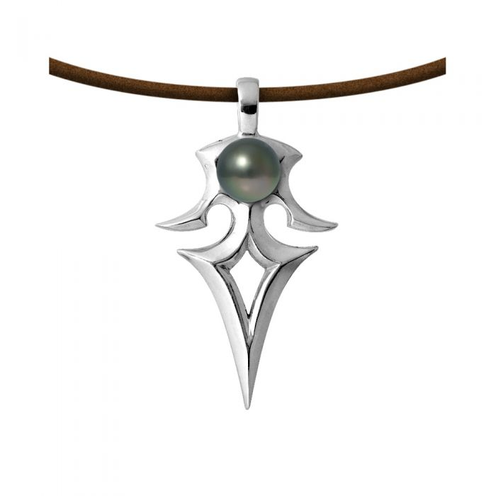Image for Tribal tahitian pearl and leather necklace