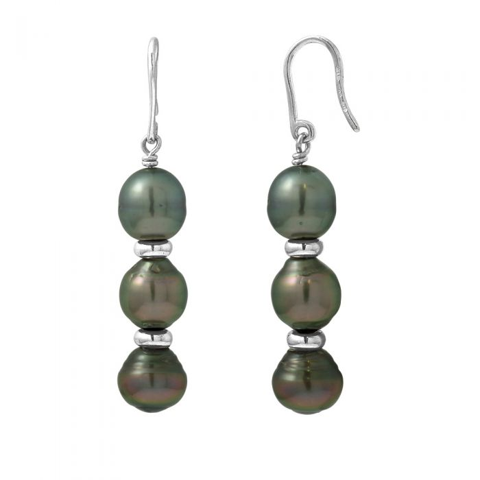 Image for 3 Black Tahitian Pearls Dangling Earrings and Silver 925/1000