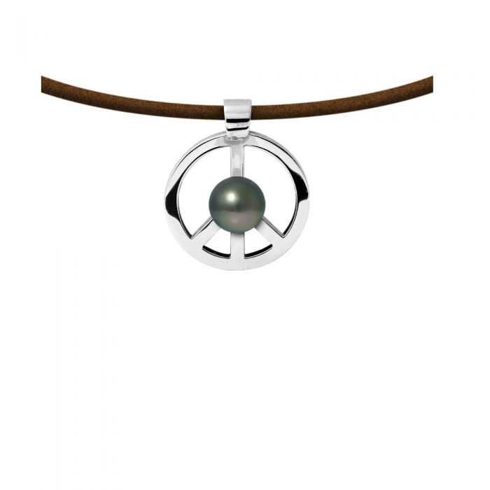 Image for Peace and love tahitian pearl and leather necklace